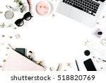 flat lay  top view office table ... | Shutterstock . vector #518820769