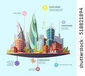 modern capital city downtown... | Shutterstock . vector #518821894