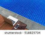 workplace at the resort. laptop ... | Shutterstock . vector #518825734
