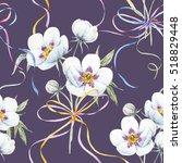 watercolor floral pattern... | Shutterstock . vector #518829448