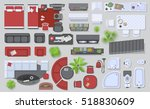 icons set of interior  top view ... | Shutterstock .eps vector #518830609