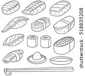 vector set of rice with raw... | Shutterstock .eps vector #518835208