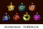 set game icons of magic elixir. ... | Shutterstock .eps vector #518836126