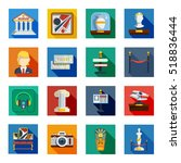 museum flat squared icon set... | Shutterstock . vector #518836444