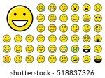 set of different yellow smiley... | Shutterstock .eps vector #518837326