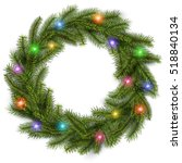 christmas wreath with colorful... | Shutterstock .eps vector #518840134