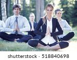 business people practicing yoga ... | Shutterstock . vector #518840698