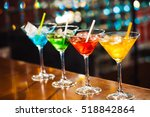 multicolored cocktails at the... | Shutterstock . vector #518842864