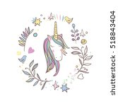 unicorn rainbow pattern   girls ... | Shutterstock .eps vector #518843404