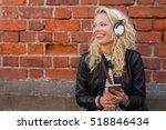 happy hipster with headphones... | Shutterstock . vector #518846434
