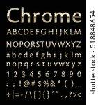 chrome letter set with gold edge | Shutterstock .eps vector #518848654