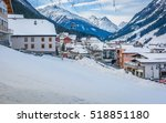 view at winter resort in alps ... | Shutterstock . vector #518851180