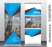blue roll up business brochure...   Shutterstock .eps vector #518853850