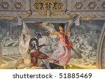 Fresco on ceiling in a hall way in the Vatican Museum, Rome, Italy - stock photo