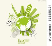 environmentally friendly world. ... | Shutterstock .eps vector #518855134