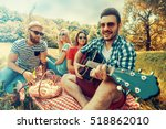 happy group of friends having... | Shutterstock . vector #518862010
