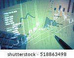 financial data on a monitor as... | Shutterstock . vector #518863498