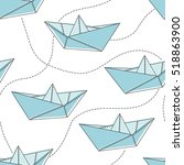 collection of paper boats ... | Shutterstock .eps vector #518863900