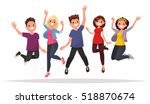 happy group of people jumping... | Shutterstock .eps vector #518870674