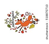 red fox. trees  branches ... | Shutterstock .eps vector #518870710