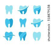 teeth vector icon set isolated... | Shutterstock .eps vector #518879158