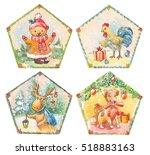 cristmas set of watercolor... | Shutterstock . vector #518883163