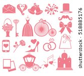 wedding flat icons  symbols ... | Shutterstock . vector #518885176