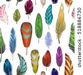 colorful detailed bird feathers ... | Shutterstock .eps vector #518886730