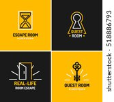 real life room escape. the logo ... | Shutterstock .eps vector #518886793