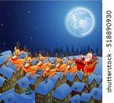 santa claus riding his reindeer ... | Shutterstock .eps vector #518890930