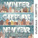 winter cityscape.city... | Shutterstock .eps vector #518897290
