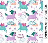 vector pattern with cute violet ... | Shutterstock .eps vector #518901838