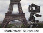 Image Of Dslr Camera On Tripod...