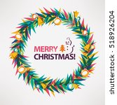 merry christmas card  wreath... | Shutterstock .eps vector #518926204