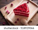 red velvet cake on wood board | Shutterstock . vector #518929066