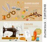 seamstress and tailor banners... | Shutterstock .eps vector #518929648