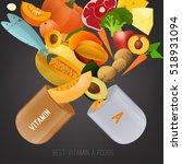 set of healthy fruit ... | Shutterstock .eps vector #518931094