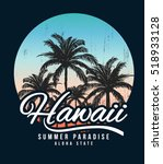 hawaii typography for t shirt... | Shutterstock .eps vector #518933128