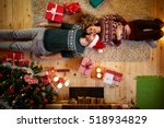 man and woman lying on the... | Shutterstock . vector #518934829