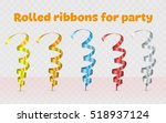 set ribbons for party. colored... | Shutterstock .eps vector #518937124