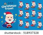 christmas travel. santa claus... | Shutterstock .eps vector #518937328