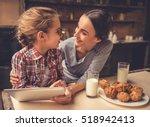 cute little girl and her... | Shutterstock . vector #518942413
