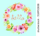 Watercolor Floral Wreath With...