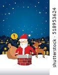 santa claus stuck in the... | Shutterstock .eps vector #518953624