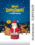 santa claus stuck in the... | Shutterstock .eps vector #518953639