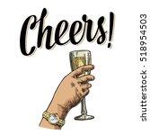 female hand holding a glass... | Shutterstock .eps vector #518954503