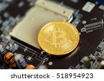 photo golden bitcoin | Shutterstock . vector #518954923