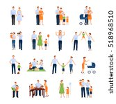 family icons set with parents... | Shutterstock . vector #518968510