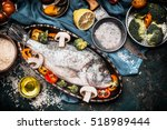 fish dishes cooking preparation ... | Shutterstock . vector #518989444