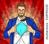 pop art super dad hero | Shutterstock .eps vector #518990230